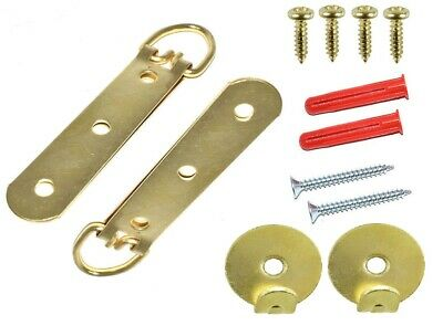 HEAVY DUTY LARGE PICTURE MIRROR HANGING BRASS KIT UP TO 20kg SCREW PLUG HANGER