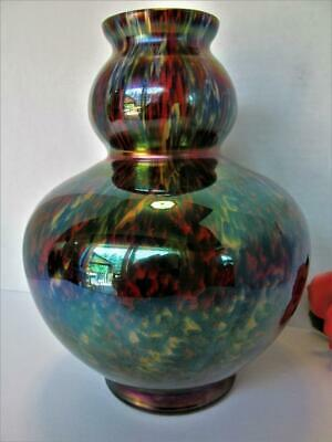 "Stunning Large 9"" Czech Signed Kralik Spatter Art Cased Glass Vase Deco Kt5219"