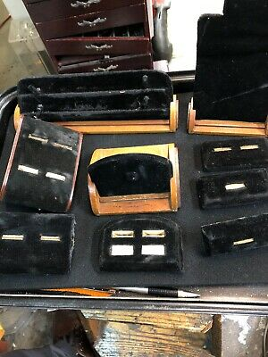 9 Vtg Antique Art Deco Velvet and wood Ring Store Display Jewelry display