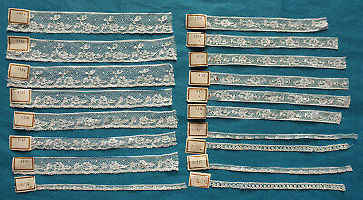 Collection of 18 numbered machine lace samples