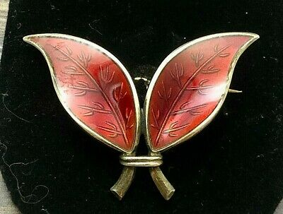 David Andersen Norwegian Sterling Enamel Fall Leaves Brooch