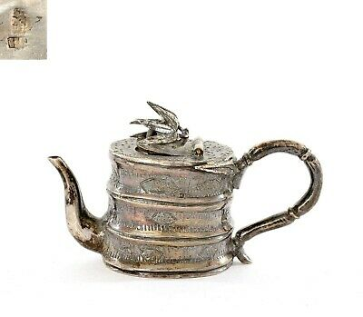 1900's Chinese Sterling Silver Miniature Tea Kettle Teapot Bamboo Motif Marked