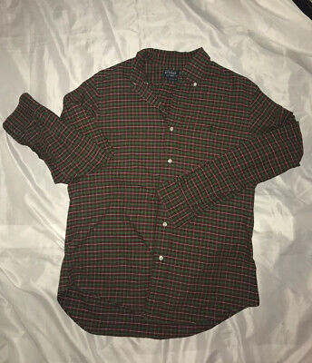 Polo Ralph Lauren Button Up Green And Red Casual Shirt - Size Medium