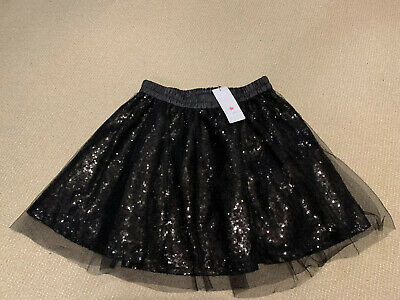 Girls Black Sequin Mesh Party Skirt 12 -13 Years Brand New With Tags