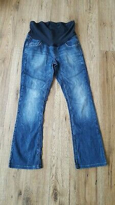 Next Mama Women Ladies Maternity Blue Distressed Jeans Over Bump Size 10