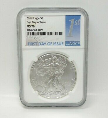 Certified NGC 2019 MS70 First Day Issue Silver American Eagle White Core Slab