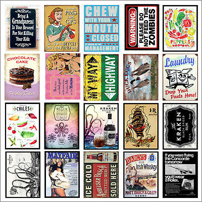 Various Retro Tin Metal Novelty Replica Signs Home Bar Kitchen Man Cave Shed M65