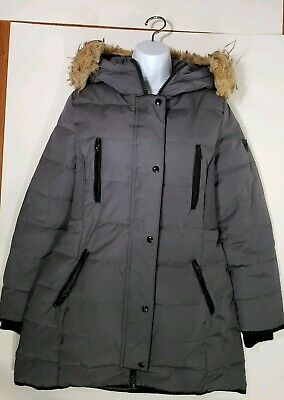 GUESS LOS ANGELES Quilted Silver Women Parka Coat Jacketsz