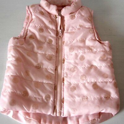 One Step Up Pink Gold Polka-Dot Zip-Up Puff Vest Size 3T Cute Girls Fashion