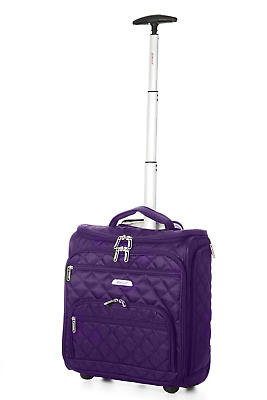 """16.5"""" Underseat Women Luggage Carry On Suitcase - Small Rolling Tote Bag with"""