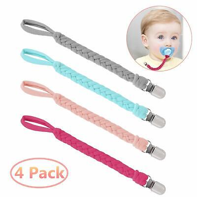 Dummy Clips 4 Pack Baby Teething Soother Pacifier Clip Chain Holder Strap Unisex