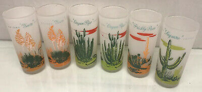 """Lot of 6 - 6.5"""" Frosted Glass Gas Station Giveaway Bar Glasses Mid century"""