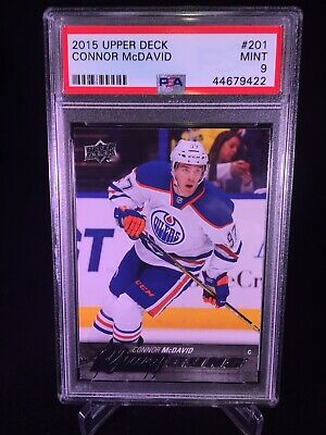 2015-16 Upper Deck Series 1 Connor McDavid PSA 9 Young Guns Rookie Card RC #201