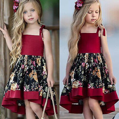 Kids Baby Girl Dresses Formal Party Pageant Floral Dress Summer Children Clothes