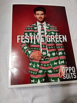 3 pc. Festive Green Opposuit-Mens Xmas suit-SZ 40(see below)-New!-Ugly Sweater?
