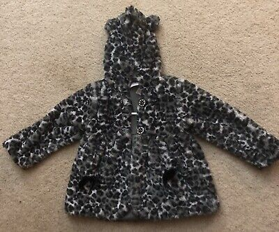 Girls grey Leopard Print jacket Toddler coat 4T with ears on hood