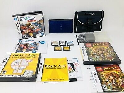 Nintendo DS Lite Blue / Black Handheld Game Console Bundle System With Games!