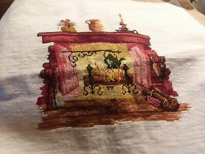 Completed Fireplace Scene~Needlepoint Canvas
