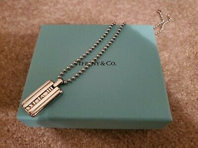 Authentic Tiffany & Co. Atlas Dog Tag Ball Chain Necklace Sterling Silver 16
