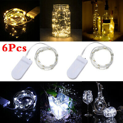 6 Pack 2M 20 LED Battery Micro Rice Wire Copper Fairy String Lights Party UK