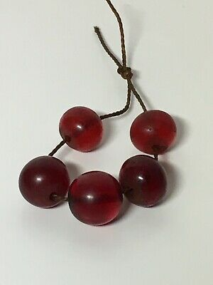 Antique Chinese 19th Century Qing Red Peking Glass Bead Lot Of 5 Beads