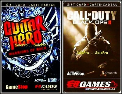 2x EB GAMES CALL OF DUTY BLACK OPS II GUITAR HERO RARE COLLECTIBLE GIFT CARD LOT
