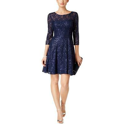 SL Fashions Womens Navy Lace Overlay Sequined Cocktail Dress 8 BHFO 5246