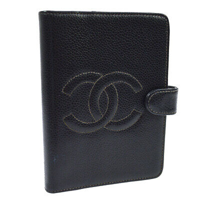 CHANEL CC Agenda Notebook Cover Caviar Skin Black 5431756 Authentic AK38259j