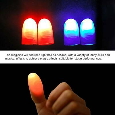2x Novelty LED Magic Light Up Silicone Fingers Thumb Props Trick Light Prank Toy