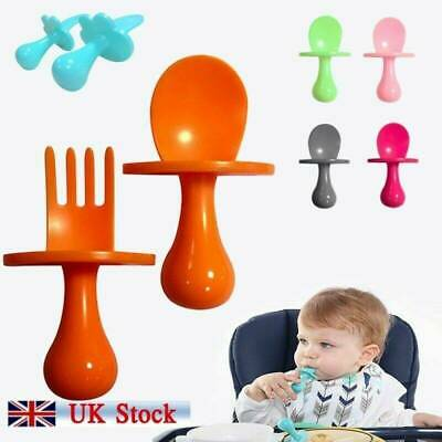 Spoon & Fork Baby Eating Training 2pcs PP Self Feeding Cutlery Set Safe and Easy