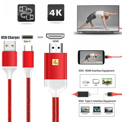 For Macbook Samsung S8 S9 S10 USB 3.1 Type C to 4K HDTV TV HDMI Adapter Cable