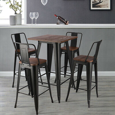 Metal Industrial Wooden Top Bar Table with Barstools 2-4 Seater Stool Chairs Set