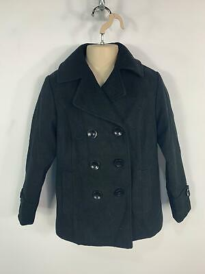 Girls Marks&Spencer Black Smart Button Winter Overcoat Jacket Kids Age 7/8 Years