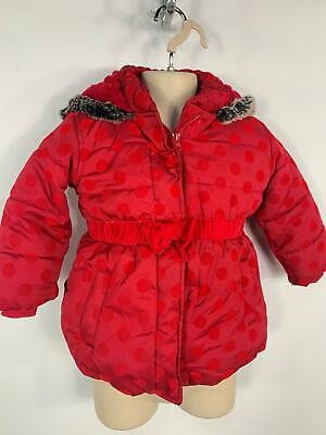 Girls Marks&Spencer Red Dot Padded Winter Puffer Coat Jacket Kids Age 2/3 Years