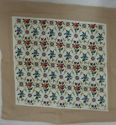 "Vintage Needlepoint/Tapestry,Floral Design 22"" Square, Wool"