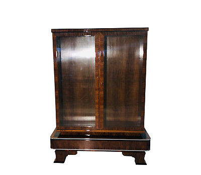 1930s Art Deco Walnut Vitrine Cabinet