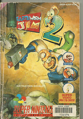 Earthworm 2 Jim Instruction Booklet Manual Only Super Nintendo SNES NTSC Worm II