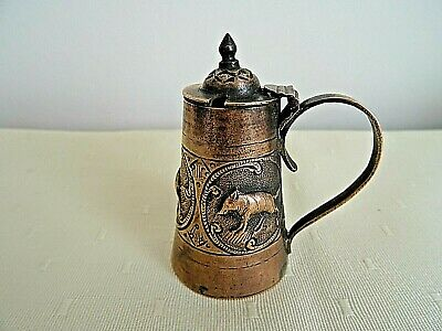 Vintage Small Copper Metal Decorated Wild Boards Hinged Handle Mustard Pot