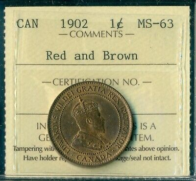 1902 Canada Large Cent King Edward VII ICCS Cert. MS-63 Red and Brown