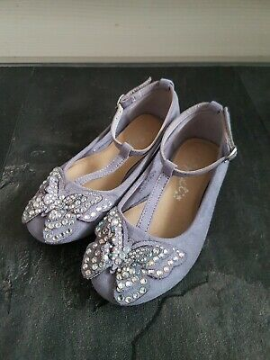 Next Girls Lilac/Light Blue Embellished Butterfly Party Shoes - Size 10