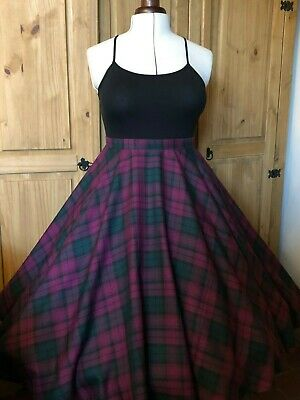 Devil & Desire Purple Green Lindsay Tartan Rockabilly 1950s Circle Retro Skirt
