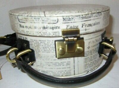 Patricia Nash Allier Hat Box Newspaper Print Round Crossbody Bag With A Mirror