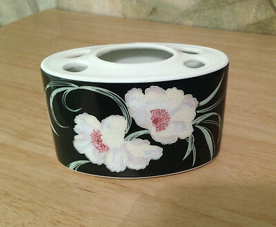 Magnolia Floral Dark Green Ceramic Toothbrush Holder
