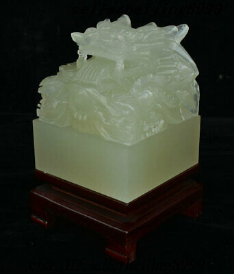 Old China Afghanistan Jade Carving Dragon Loong Beast imperial Seal Stamp Signet