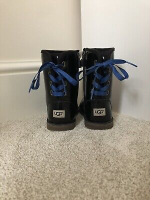 Girls Size 8 Infant Ugg Boots Patent Black Leather
