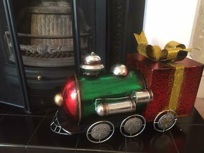 "21"" Large Metal Gift Train Christmas Decoration Ornament Hand Painted Xmas 55cm"