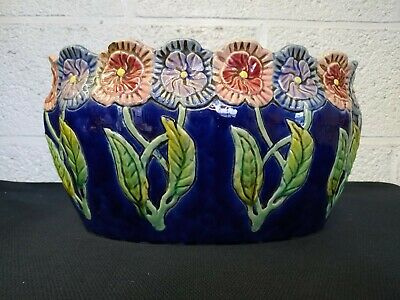 Antique Art nouveau Barbotine Jardiniere Planter Centerpiece Jugendstil Majolica