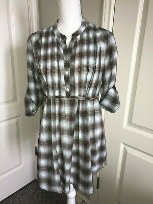 Two Hearts Maternity Long Plaid Blouse Tunic Brown White SIZE M NWT-