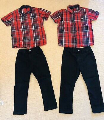 Tartan Shirt and Black Jeans. Aged 3-4 Twin Boys. Super Smart Outfit