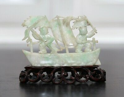 Antique Chinese carved jadeite statue of a Boat, Qing Dynasty, 19th Century FINE